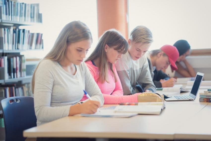 5 elever arbeider på skolens bibliotek