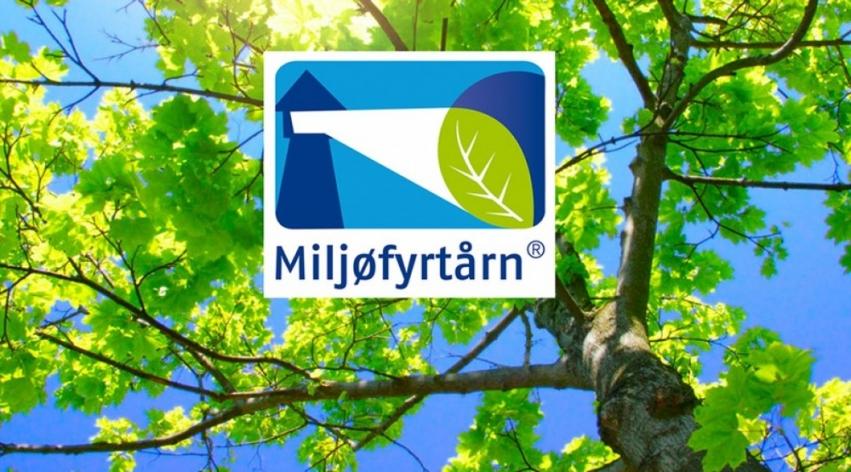 logoen til Miljøfyrtårn med grønt tre i bakgrunn
