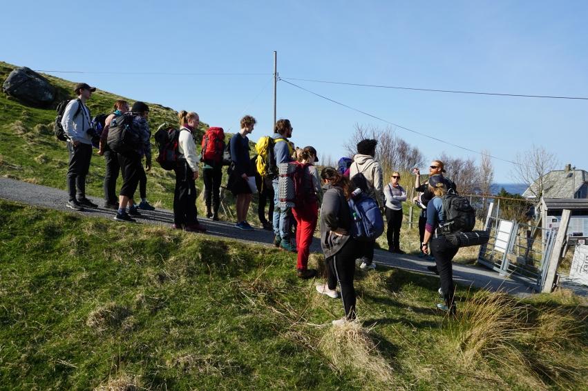 Elever på ekskursjon på Runde. Foto: Thomas Palm